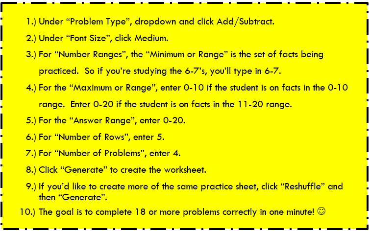 Math Fact Fluency – Math Fact Cafe Worksheets